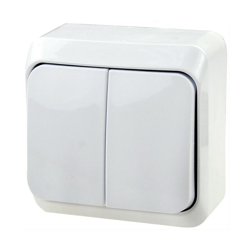 МАКЕЛ Выключатель о/у, 2 клавиши, б/индикации, 10А, 230В,  IP20, белый. 45103