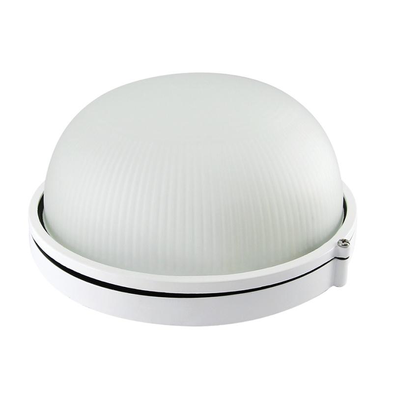 Светильник НПБ Е27, 100Вт, 230В, IP54, круг белый, стекло