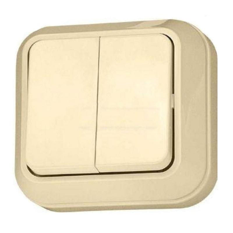 МАКЕЛ Выключатель о/у, 2 клавиши, б/индикации, 10А, 230В, IP20, кремовый. 45203