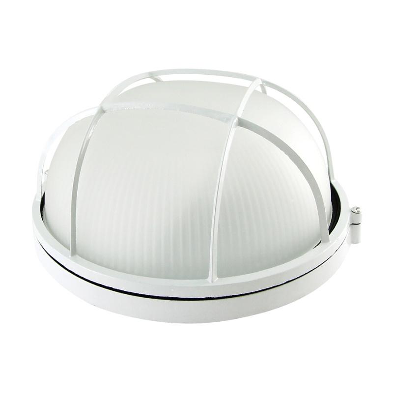 Светильник НПБ Е27, 100Вт, 230В, IP54, круг с решеткой белый, стекло