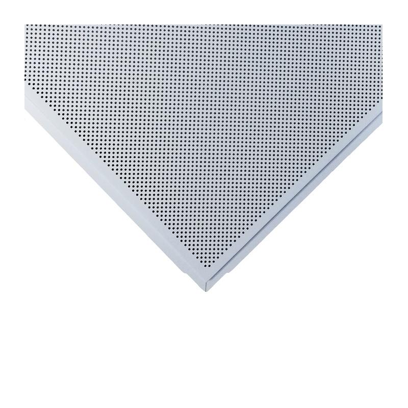 ЦЕСАЛ Плита потолочная кассетная 600х600мм алюминиевая с перф. белая кромка Тегулар 45 (1шт)